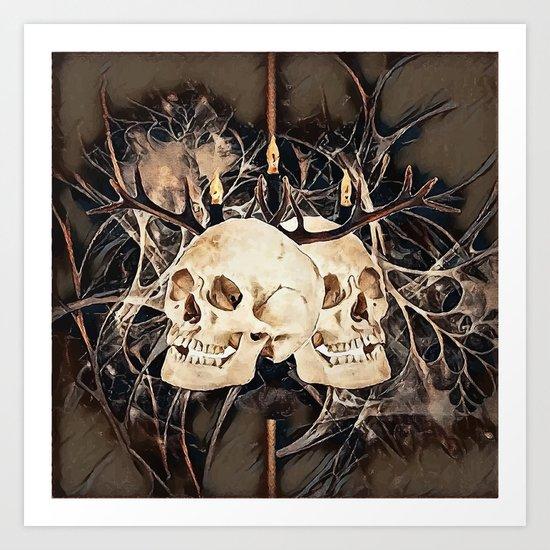 Human skulls Art Print