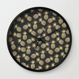 Modern chalk black elegant faux gold pineapple pattern Wall Clock
