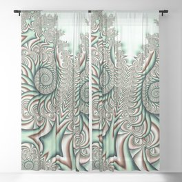 Owl Fractal Chocolate Mint Sheer Curtain