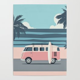Surfer Graphic Beach Palm-Tree Camper-Van Art Poster