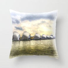 The Thames Barrier London Art Throw Pillow