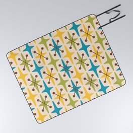 Mid Century Modern Abstract Star Pattern 441 Yellow Brown Turquoise Chartreuse Picnic Blanket