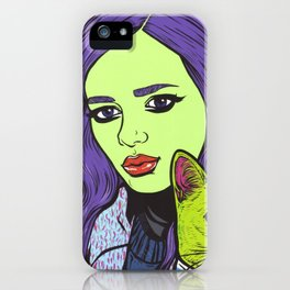 girl with cat iPhone Case