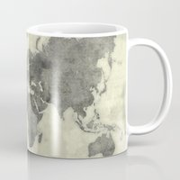vintage map Mugs featuring World Map Black Vintage by City Art Posters