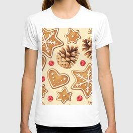 Christmas gingerbread seamless pattern T-shirt