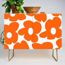 Orange Retro Flowers White Background #decor #society6 #buyart Credenza