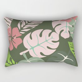 Tropical leaves green and pink paradises Rectangular Pillow