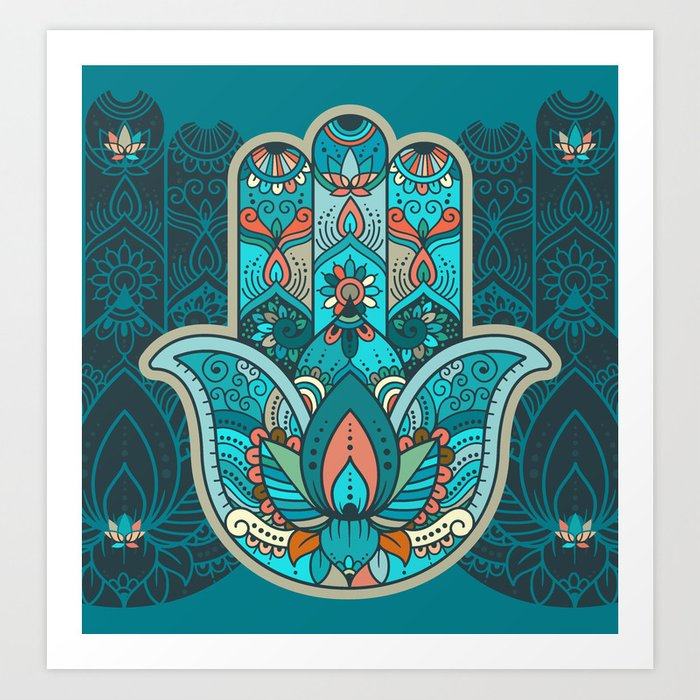 Hamsa Hand Of Fatima Good Luck Charm Protection Symbol Anti Evil Eye Art Print