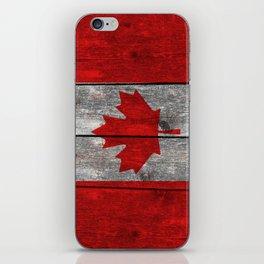 Canada flag on heavily textured woodgrain iPhone Skin