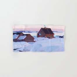 Clarence Gagnon - Ferme de St. Antoine, Baie St. Paul - Canadian Oil Painting - Group of Seven Hand & Bath Towel
