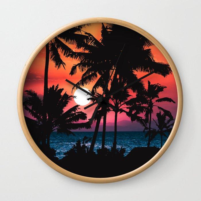 Summer Tropical Pink Orange Palm Trees Sunset Wall Clock