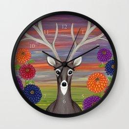 white tailed deer, owl, zinnias Wall Clock
