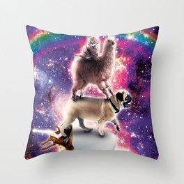 Space Cat Llama Pug Riding Coffee Throw Pillow