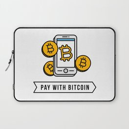 Pay With Bitcoin (Mobile Payments) Icon Laptop Sleeve