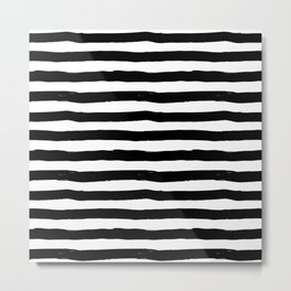 Modern black white watercolor hand painted brushstrokes stripes Metal Print