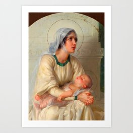 Madonna and Child Jesus with Angels Virgin Mary Art Art Print