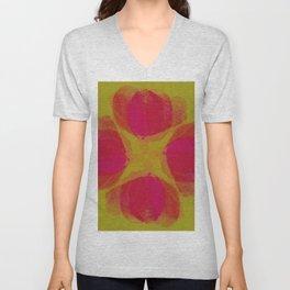 green lemon and pink flowers pattern Unisex V-Neck