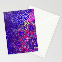 -A15- Colored Moroccan Mandala Artwork. Stationery Cards