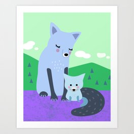 Mother Fox and Baby Cub Art Print