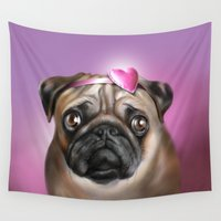 valentines Wall Tapestries featuring valentines day pug by RasaOm