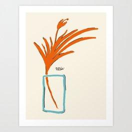 Orange Tropical Flower in a Blue Vase Art Print