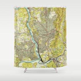 Vintage Map Of Asheville North Carolina 1943 Shower Curtain