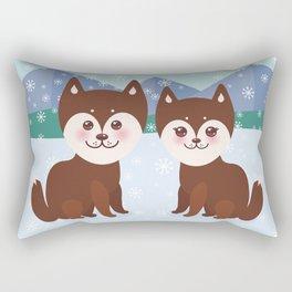Merry Christmas New Year's card design Kawaii funny brown husky dog Rectangular Pillow