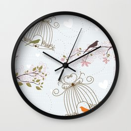 Birds, Cages and Hearts Wall Clock