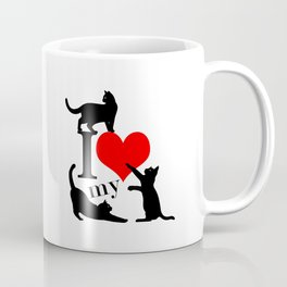 I Love My Cats - black red Coffee Mug