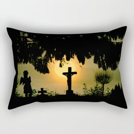 Misty sunrise at the cemetery Rectangular Pillow