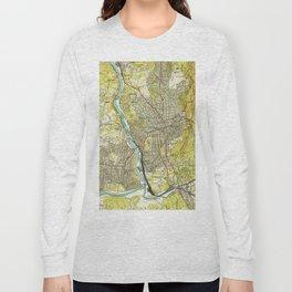 Vintage Map of Asheville North Carolina (1943) Long Sleeve T-shirt
