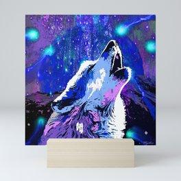 WOLF MOON AND SHOOTING STARS Mini Art Print
