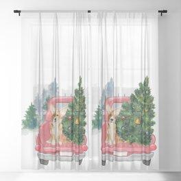 Driving Home For Christmas - Corgi On Red Xmas Car  Sheer Curtain