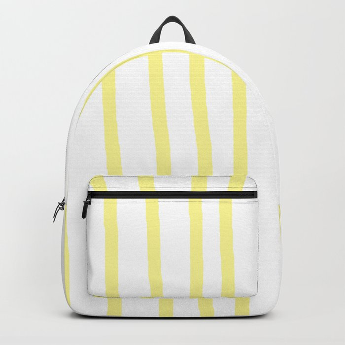 Simply Drawn Vertical Stripes in Pastel Yellow Backpack