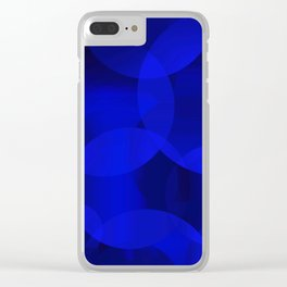 Abstract soap of ultramarine molecules and transparent bubbles on a deep blue background. Clear iPhone Case