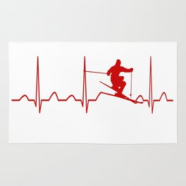SKIING MAN HEARTBEAT Rug