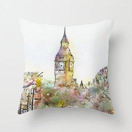 London Street 6 - Big Ben - by Jennifer Berdy Throw Pillow
