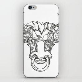 Pinzgauer Bull Head Front Doodle Art iPhone Skin