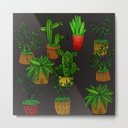 Plants and vases Metal Print