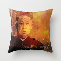 korea Throw Pillows featuring Goodnight Korea by Katy Kennedy
