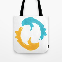 Blue and yellow fish in circle Tote Bag