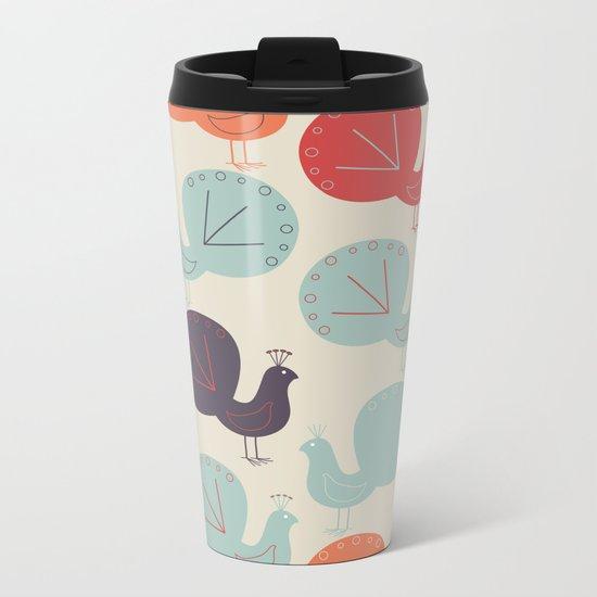 Peacock Pattern Metal Travel Mug