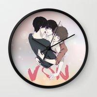 yaoi Wall Clocks featuring Zankyou No Terror by Neo Crystal Tokyo