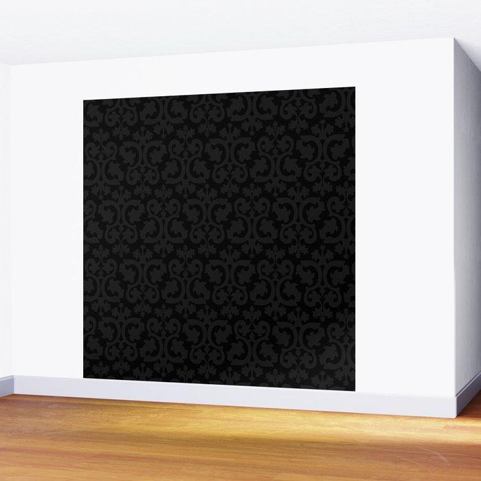 Black and Dark Grey Damask Pattern Wall Mural