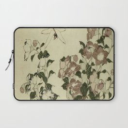 Hokusai – campanula and odonata -insect,flower, nature,garden Laptop Sleeve