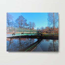 A bridge, the river and reflections II | waterscape photography Metal Print