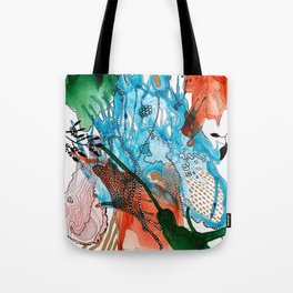 Orange and Blue Botanical Coral Reef Abstract Tote Bag