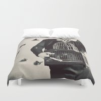 butterfly Duvet Covers featuring The Butterfly Releaser by elle moss