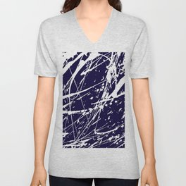 Modern navy blue white watercolor paint splatters Unisex V-Neck