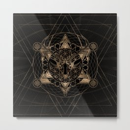 Deer in Sacred Geometry Composition - Black and Gold Metal Print